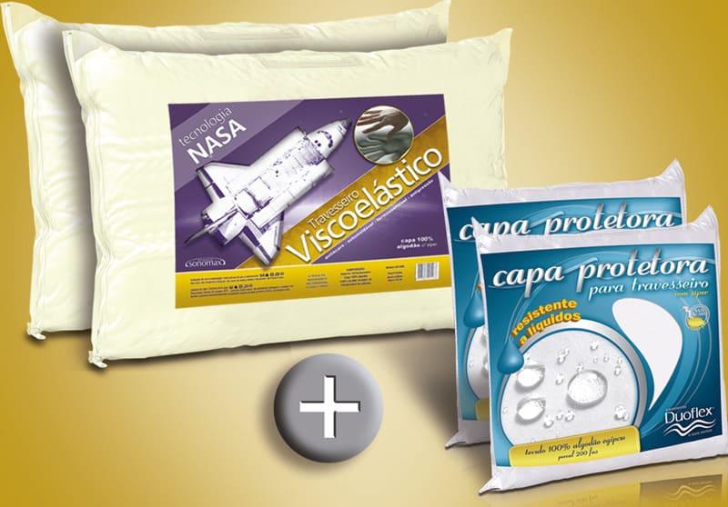 Kit 2 Nasa Viscoelástico Sonomax 45 x 65 cm + 2 Capas Impermeáveis 100% Algodão Duoflex